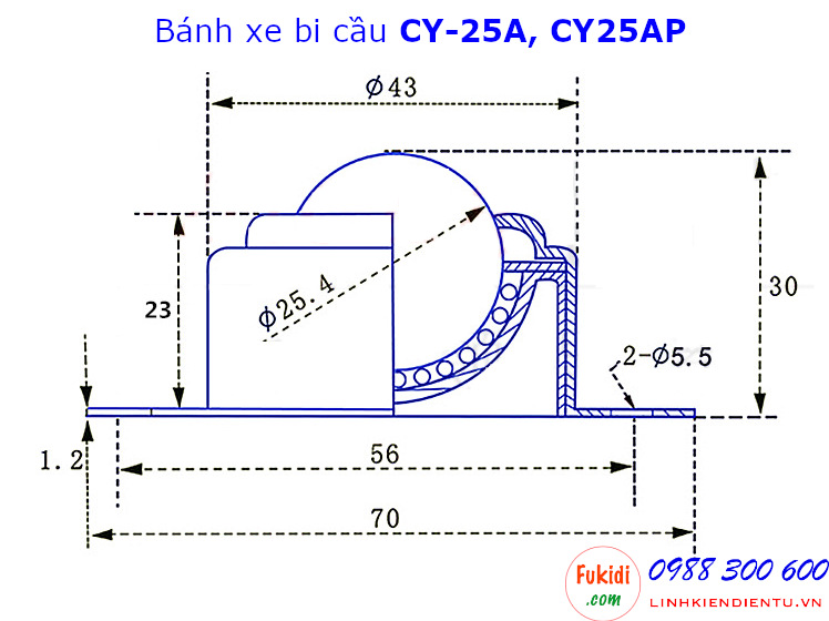 Bánh xe bi cầu inox 304, Ø25mm CY-25A tải trọng 35kg - CY25AI