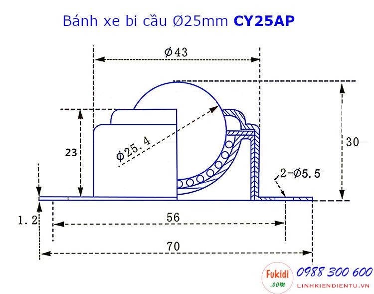 Bánh xe bi cầu nhựa Ø25mm tải trọng 20kg CY-25A - CY25AP