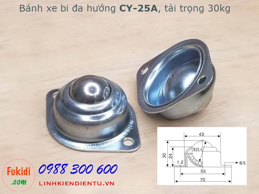 Bánh xe dẫn động đa hướng dạng bi tròn bằng thép, phi 25mm, tải trọng 30kg -CY25A