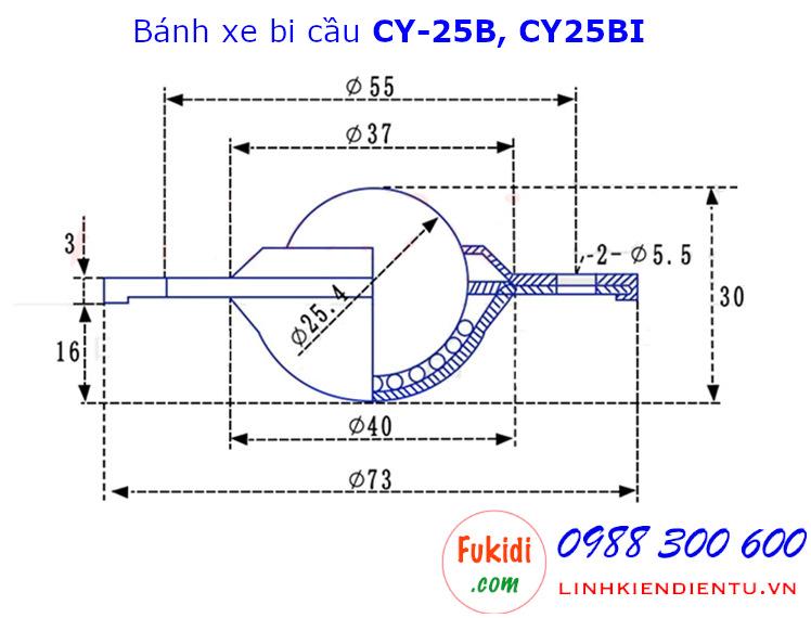 Bánh xe bi cầu inox 304, Ø25mm CY-25B tải trọng 35kg - CY25BI