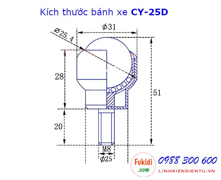 Bánh xe bi cầu nhựa Ø25mm tải trọng 25kg CY25D model CY-25D
