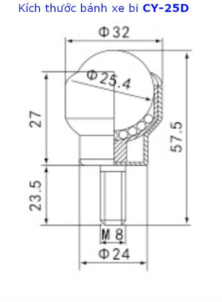 Bánh xe mắt trâu CY-25D phi 25mm chất liệu thép tải trọng 30kg - CY25DT