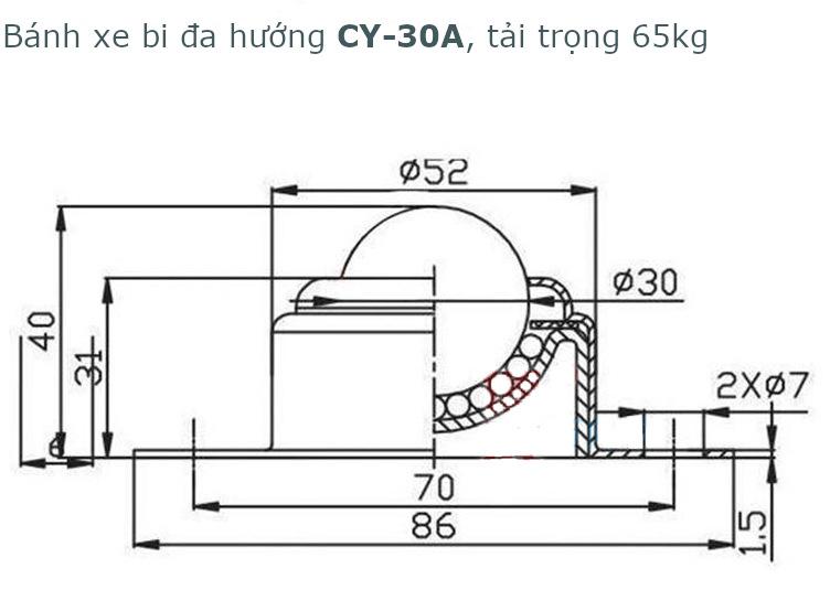 Bánh xe bi thép CY-30A, phi 30mm, tải trọng 65kg -CY30A