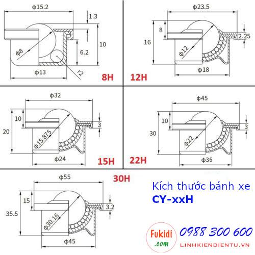 Bánh xe bi cầu nylon CY-22H bi nylon phi 22mm vỏ thép, tải trọng 20kg - CY22HP
