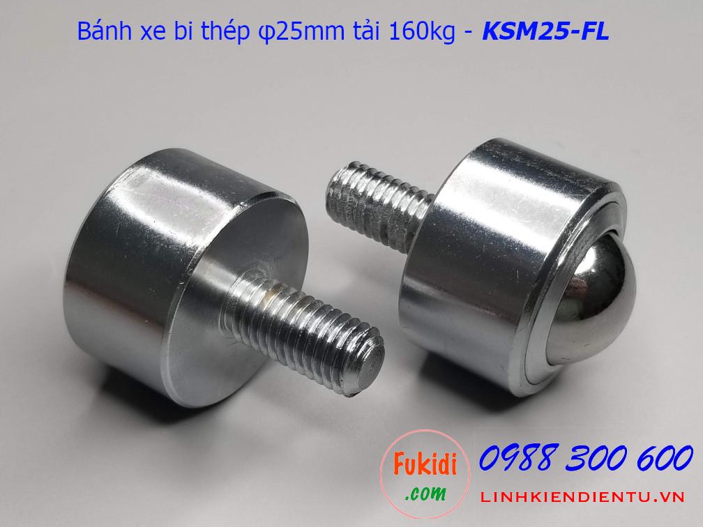 Bánh xe bi đa hướng phi 25mm tải trọng 160kg - KSM25-FL