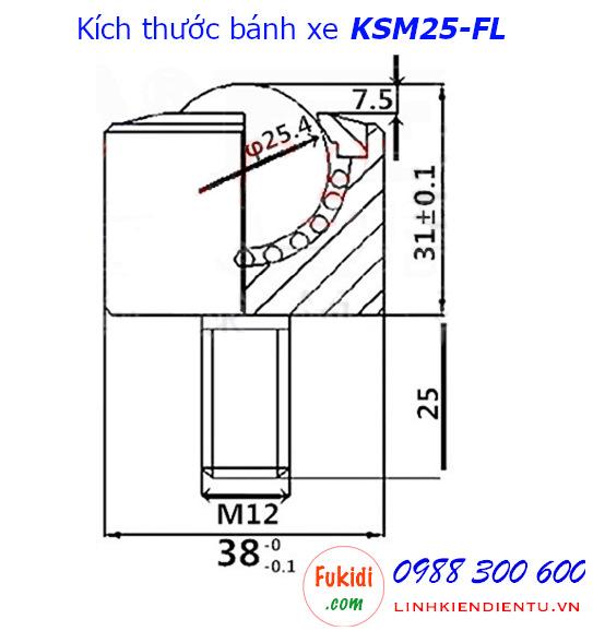 Chi tiết kích thước của bánh xe bi cầu đa hướng KSM25-FL