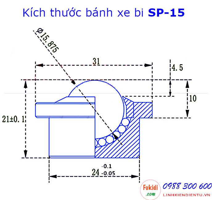 Chi tiết về kích thước của bánh xe SP-15