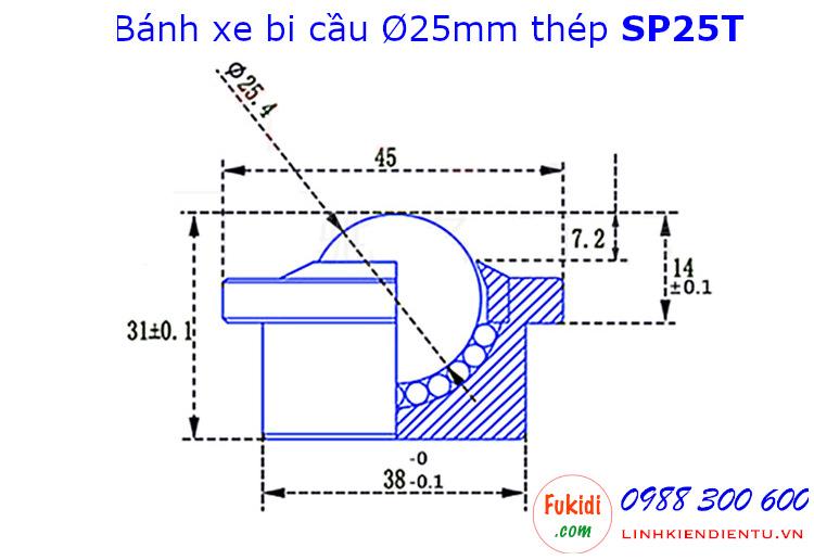 Bánh xe bi cầu thép, Ø25mm SP-25, size 45x31mm tải trọng 180kg - SP25T