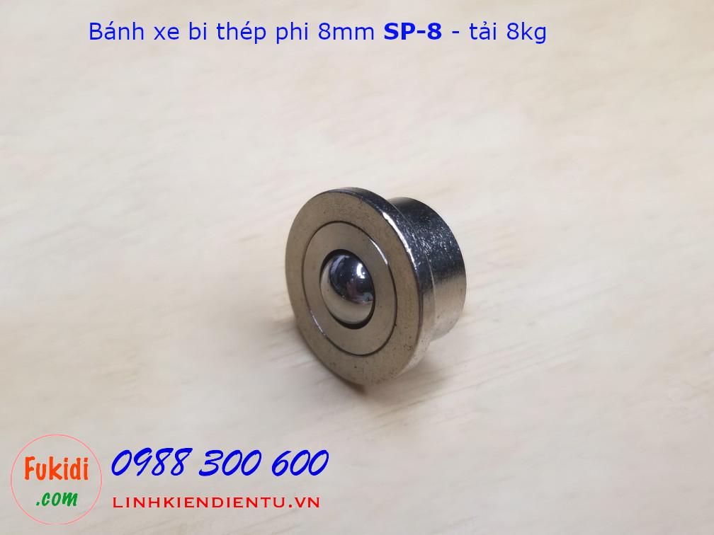 Bánh xe bi đa hướng, bánh xe mắt trâu phi 8mm tải trọng 8kg SP-8