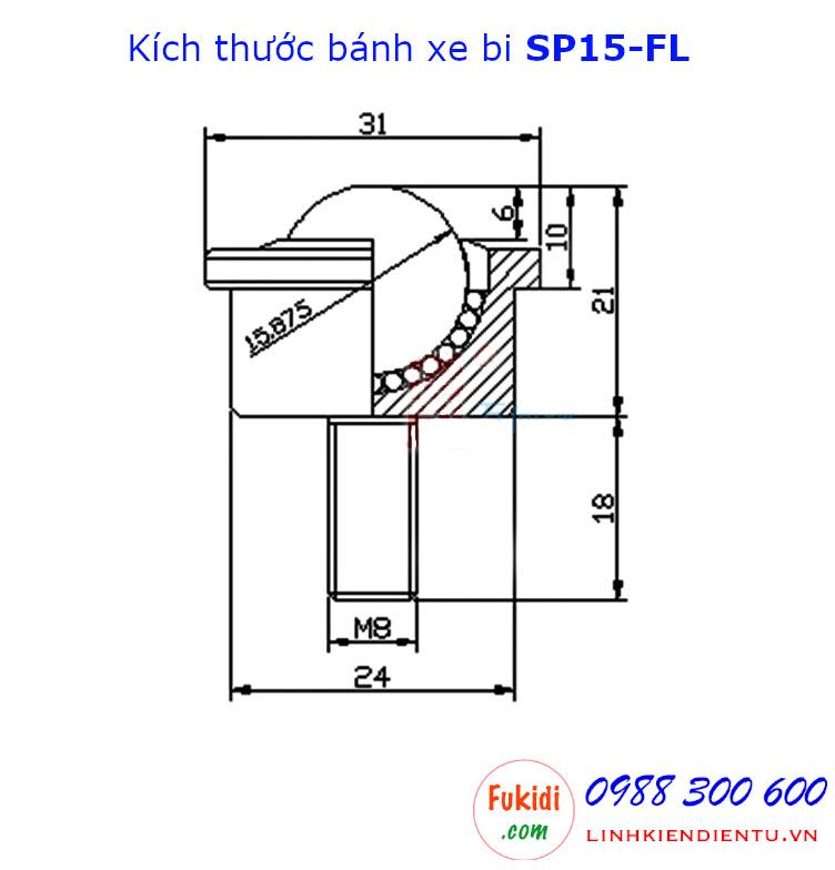 Bánh xe bi cầu SP15-FL bi thép phi 15mm, tải trọng 50kg - SP15FL