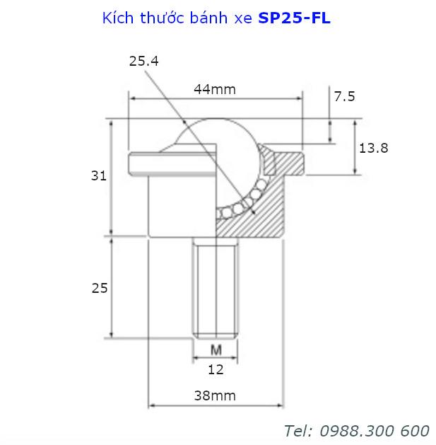 Chi tiết kích thước của bánh xe bi đa hướng phi 25mm SP25-FL