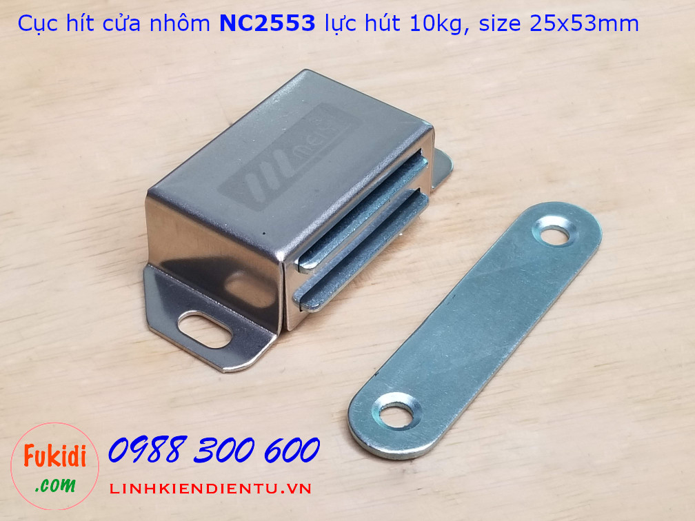 Cục hít cửa nhôm, nam châm hít cửa tủ NC2553, lực hút 10kg, vỏ inox kích thước 25x53mm