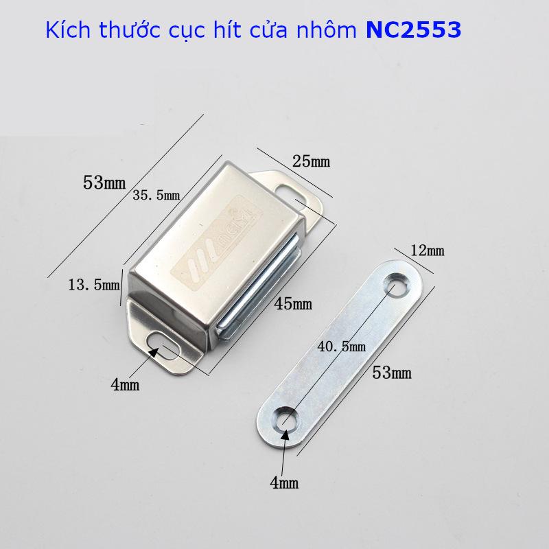Chi tiết kích thước của cục hít cửa tủ vỏ inox NC2553
