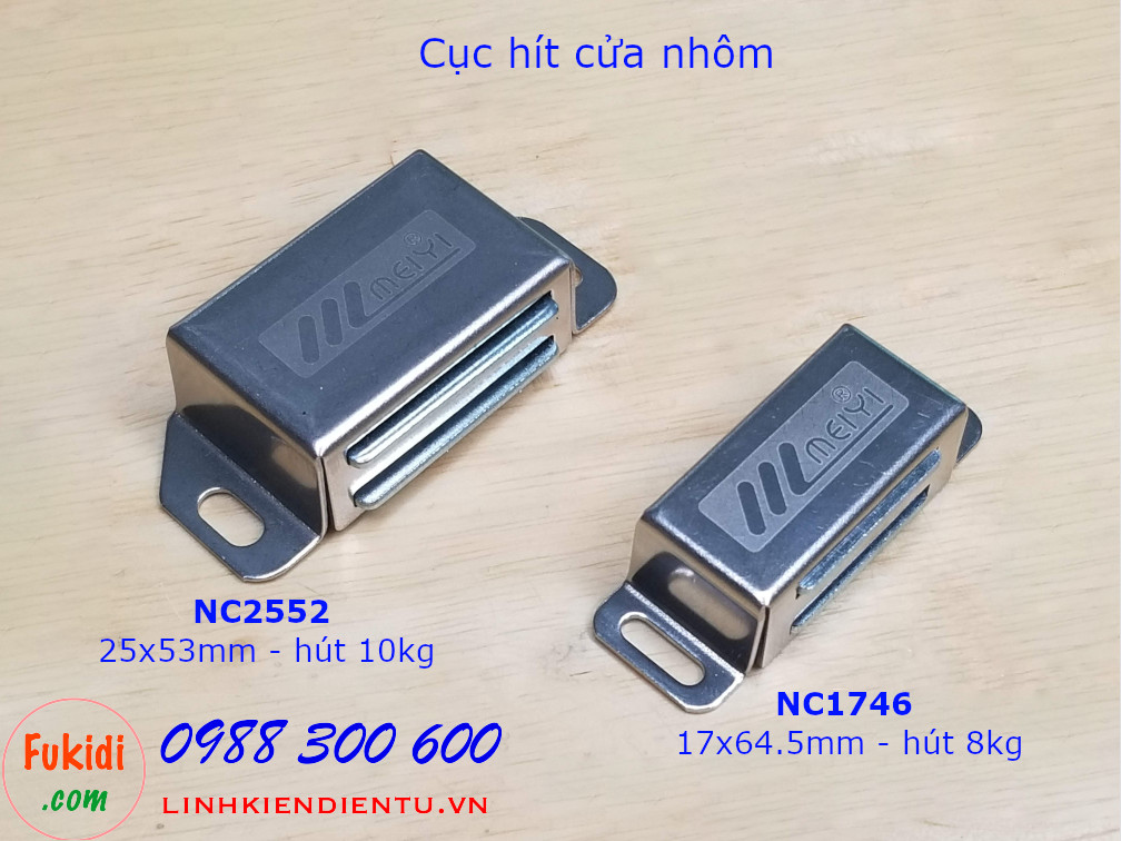 Hai loại hộp hít cửa tủ vỏ inox có lực hít 8 và 10kg là NC1746 và NC2553