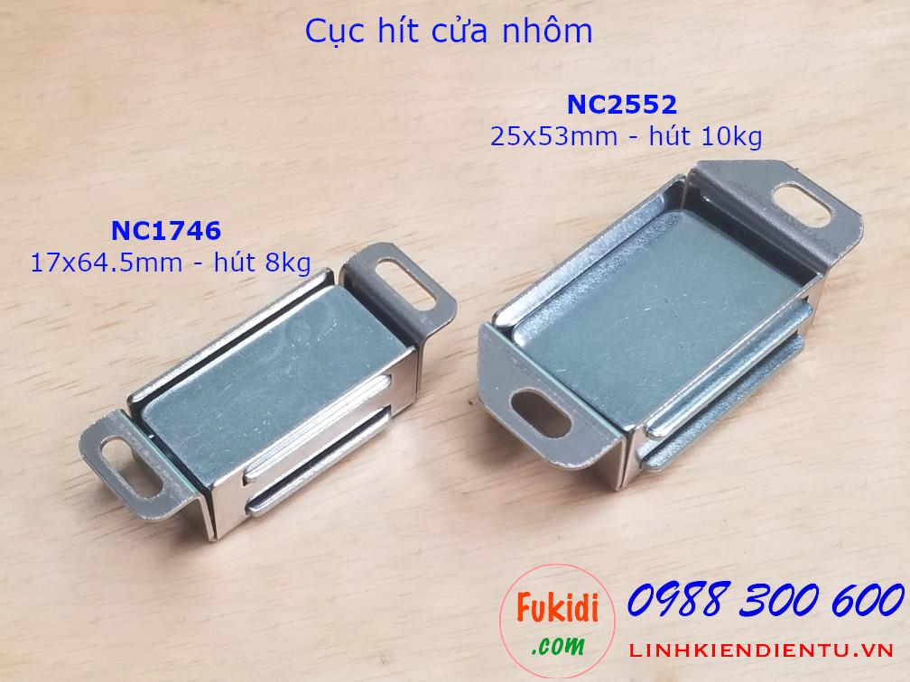 Nhìn mặt dưới của hai loại hộp hít cửa tủ vỏ inox có lực hít 8 và 10kg là NC1746 và NC2553