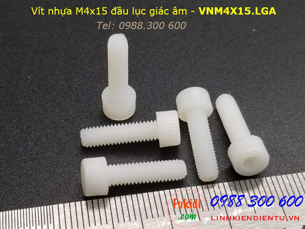 Vít nhựa M4 đầu lục giác âm dài 15mm M4x15mm màu trắng - VNM4x15.LGA