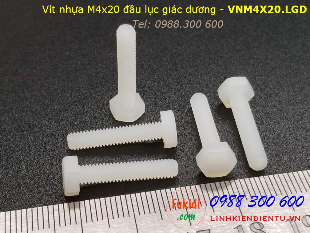 Vít nhựa M4 đầu lục giác dương dài 20mm M4x20 màu trắng - VNM4x20.LGD
