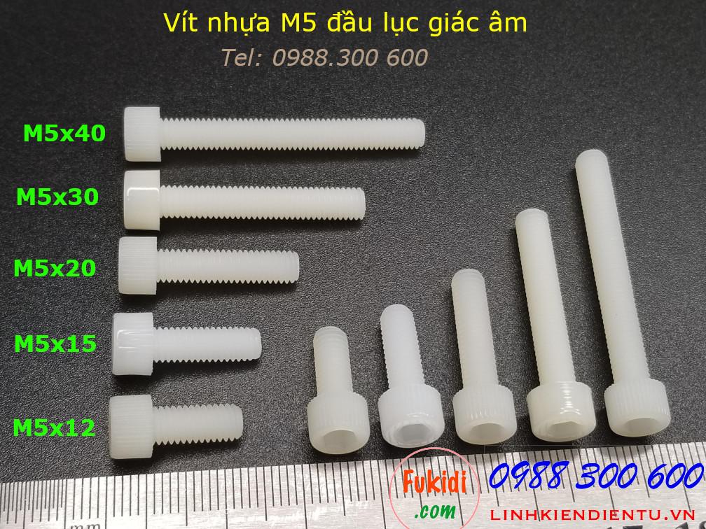 Vít nhựa M5 đầu lục giác âm dài 12mm M5x12mm - VNM5x12.LGA