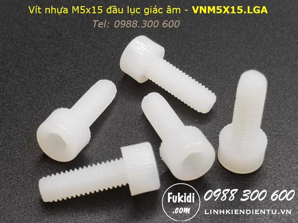 Vít nhựa M5 đầu lục giác âm dài 15mm M5x15mm - VNM5x15.LGA