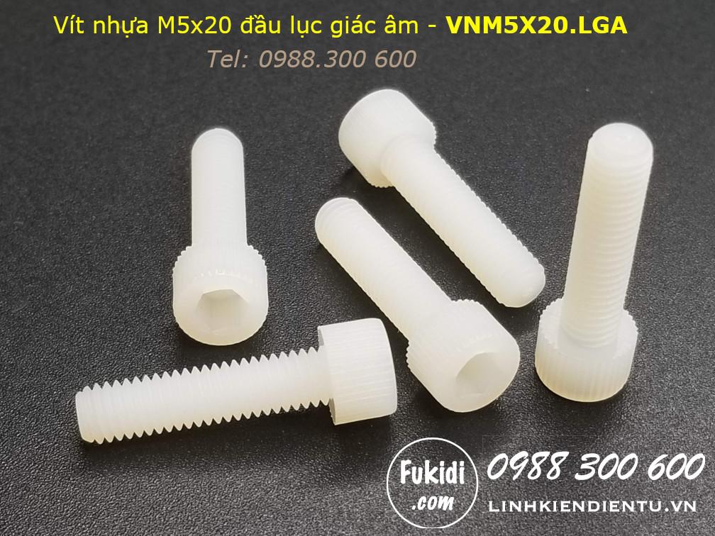 Vít nhựa M5 đầu lục giác âm dài 20mm M5x20mm - VNM5x20.LGA