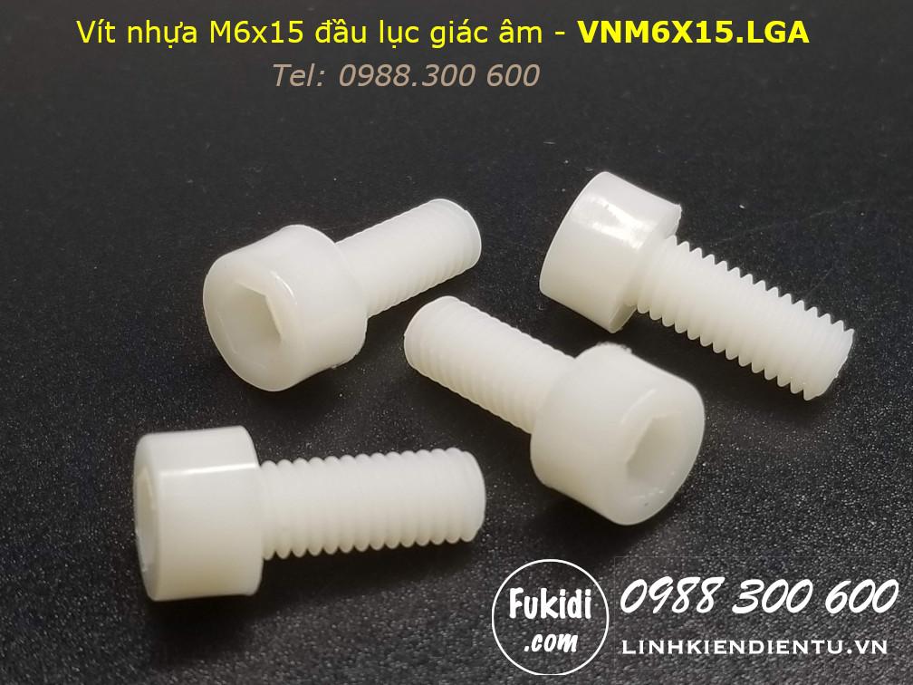 Vít nhựa M6 đầu lục giác âm M6x15 màu trắng - VNM6X15.LGA