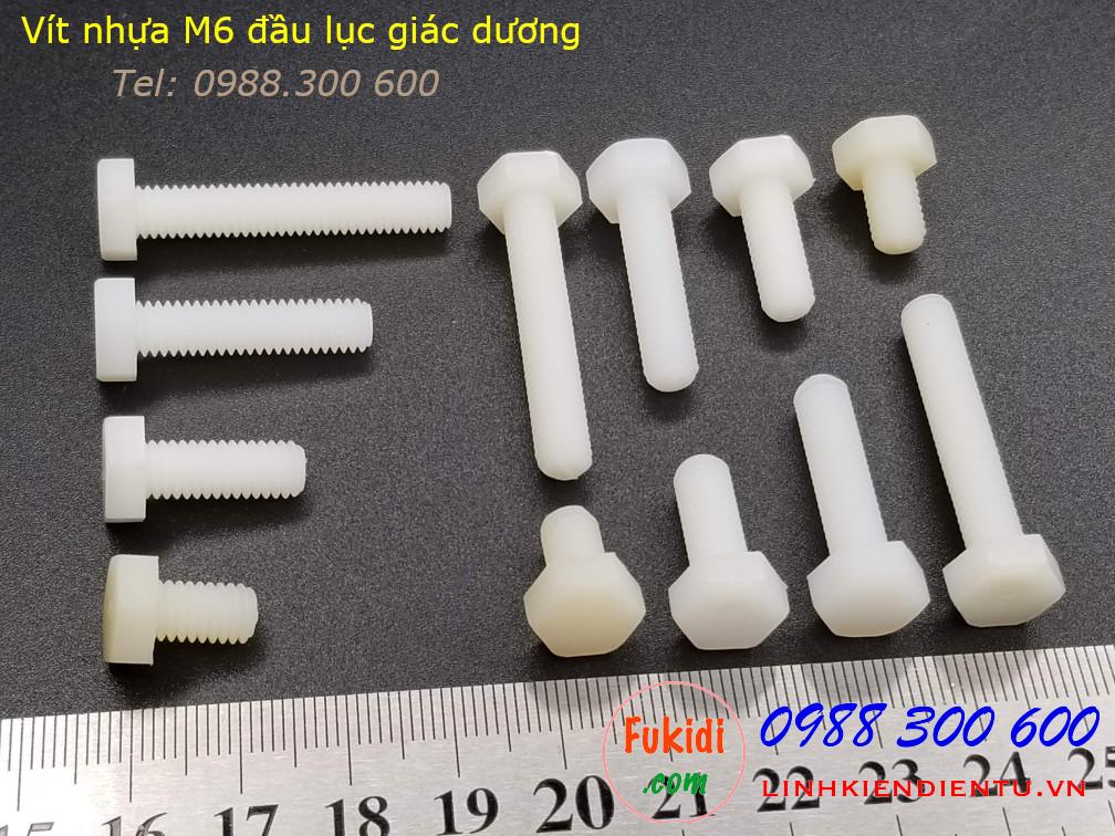 Vít nhựa M6 đầu lục giác dương dài 35mm M6x35 màu trắng - VNM6x35.LGD