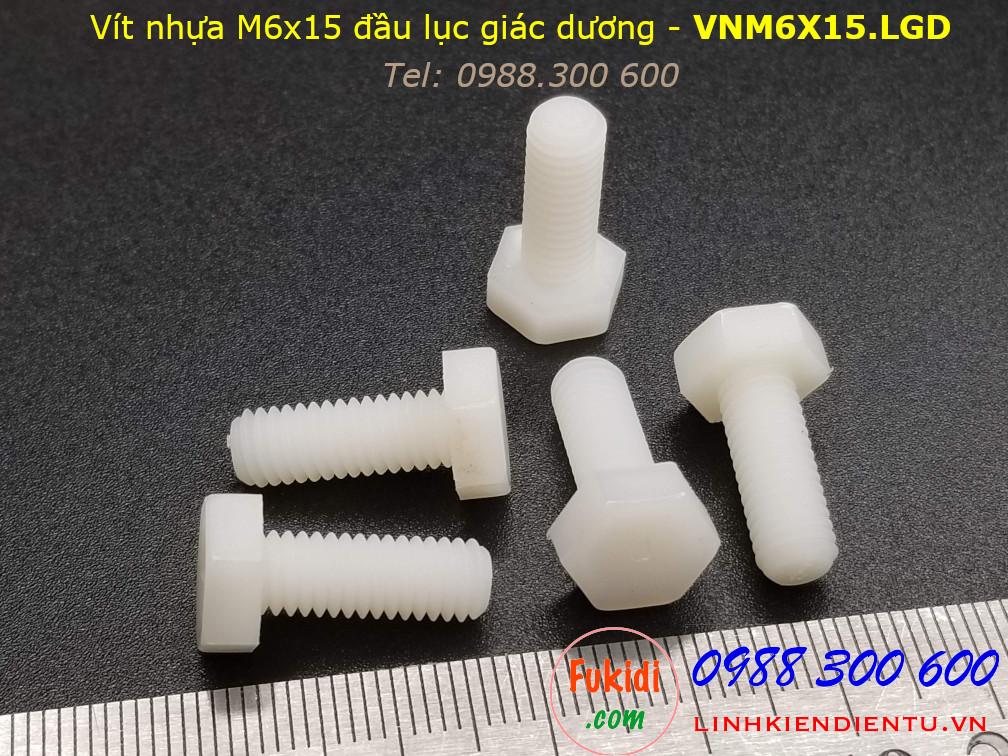 Vít nhựa M6 đầu lục giác dương dài 15mm M6x15 màu trắng - VNM6x15.LGD