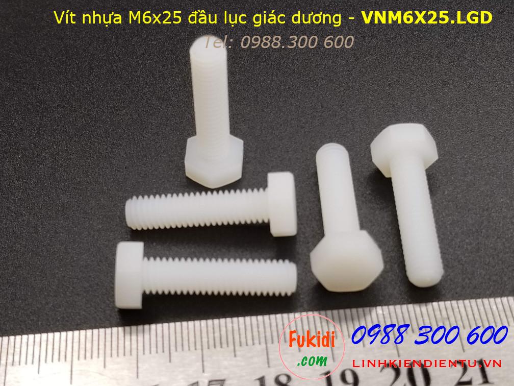 Vít nhựa M6 đầu lục giác dương dài 25mm M6x25 màu trắng - VNM6x25.LGD