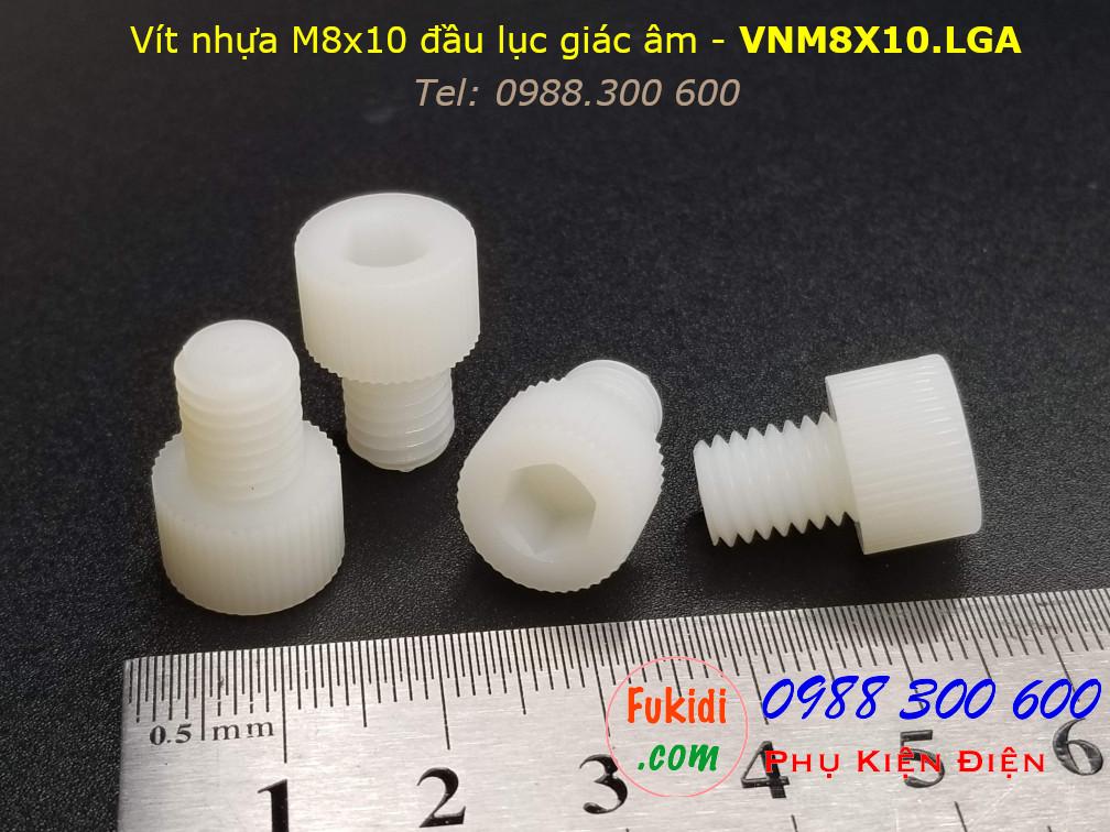 Vít nhựa M8 đầu lục giác âm có ren vặn tay M8x10 màu trắng - VNM8X10.LGA