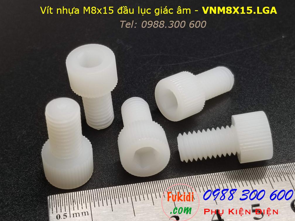 Vít nhựa M8 đầu lục giác âm có ren vặn tay M8x15 màu trắng - VNM8X15.LGA
