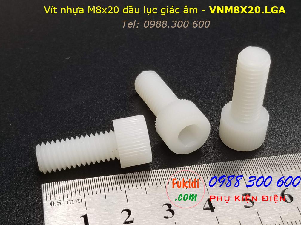 Vít nhựa M8 đầu lục giác âm có ren vặn tay M8x20 màu trắng - VNM8X20.LGA