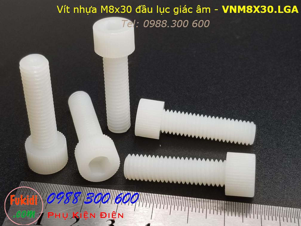 Vít nhựa M8 đầu lục giác âm có ren vặn tay M8x30 màu trắng - VNM8X30.LGA