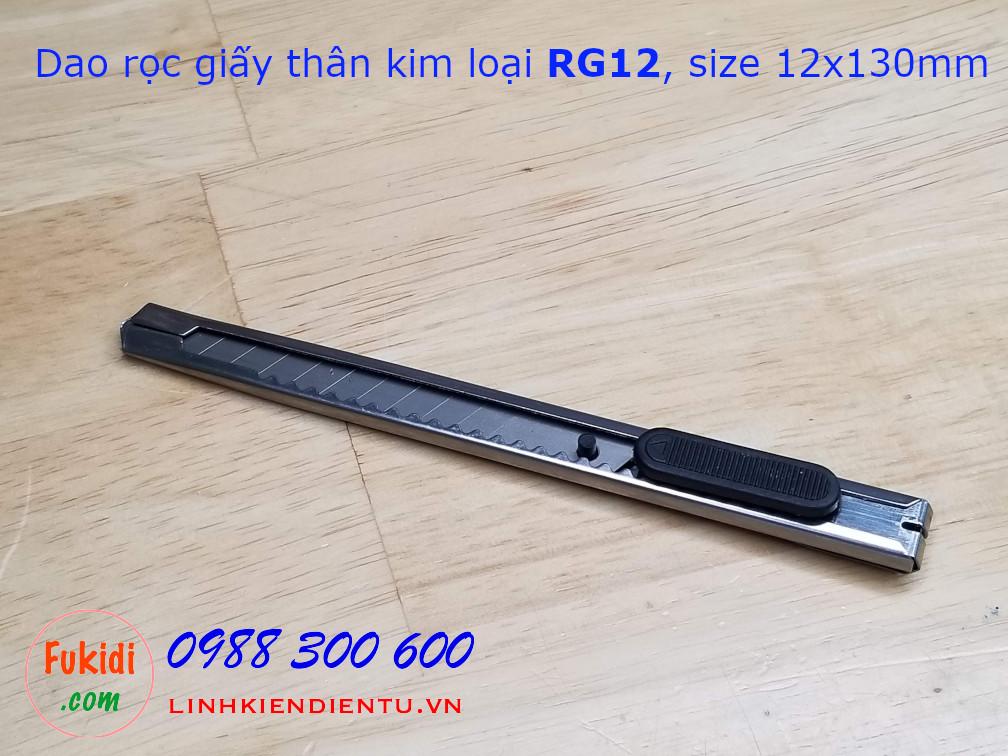 Dao rọc giấy loại nhỏ thân inox kích thước 12x130mm model RG12