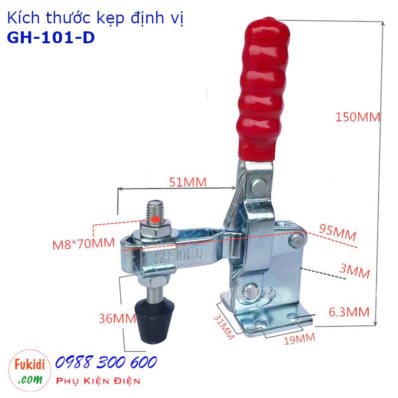 Chi tiết kích thước của kẹp định vị GH-101-DSS