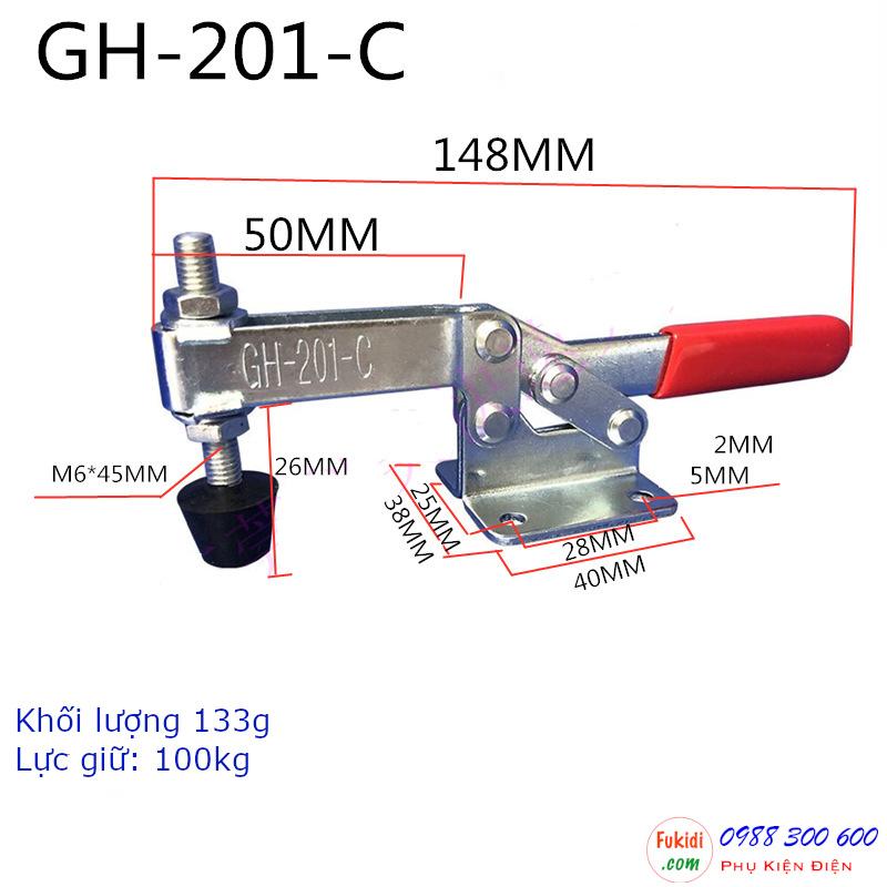 Kẹp định vị GH-201-CSS inox 304, lực giữ 100kg, chiều dài 148mm - GH201CSS