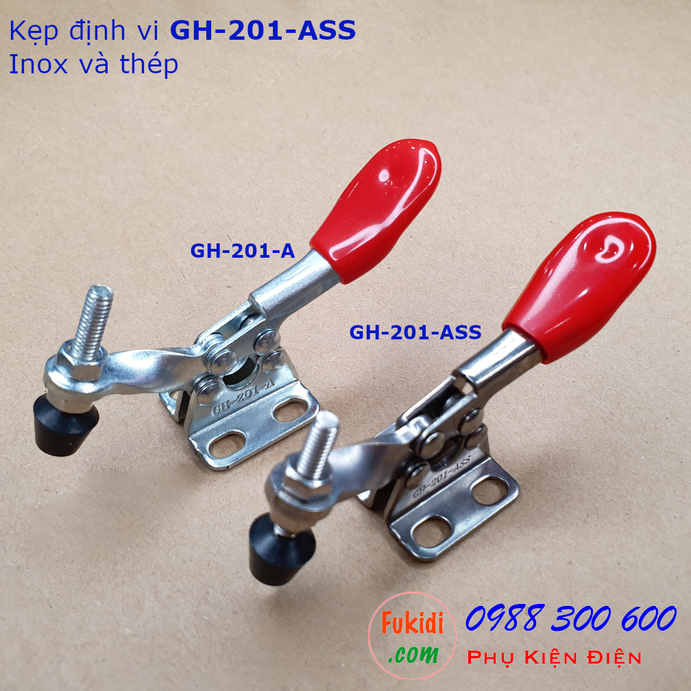 Kẹp định vị GH-201-ASS inox 304, lực giữ 27kg, chiều dài 80mm - GH201ASS