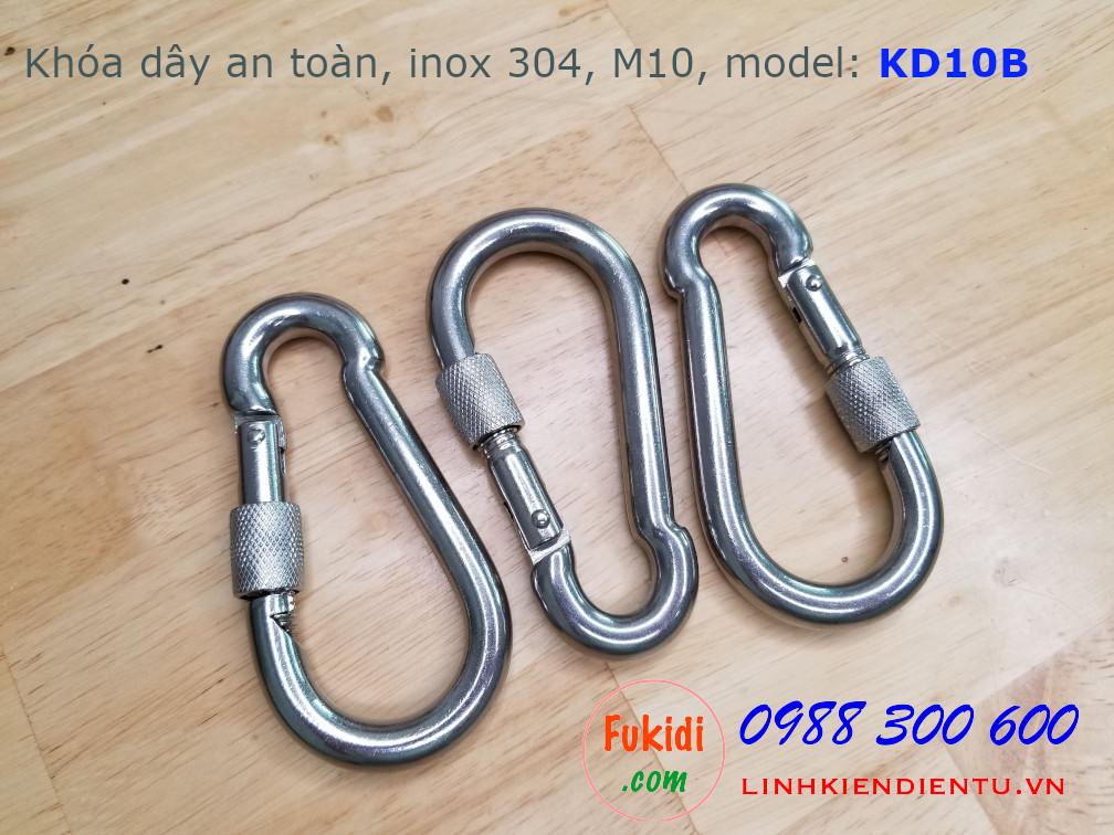 Móc khóa dây an toàn, khóa đai an toàn inox 304 M10, có ren vặn, model KD10B