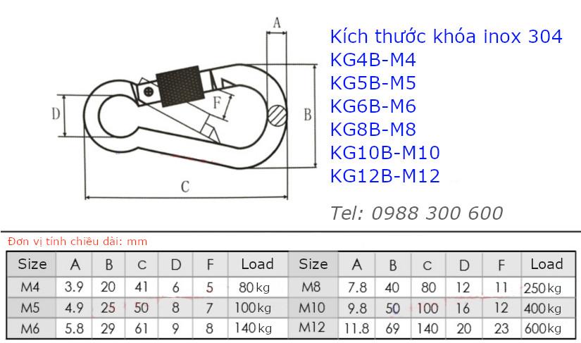 Móc nối xích, khóa dây an toàn inox 304 có ren vặn size M8 - KD8B