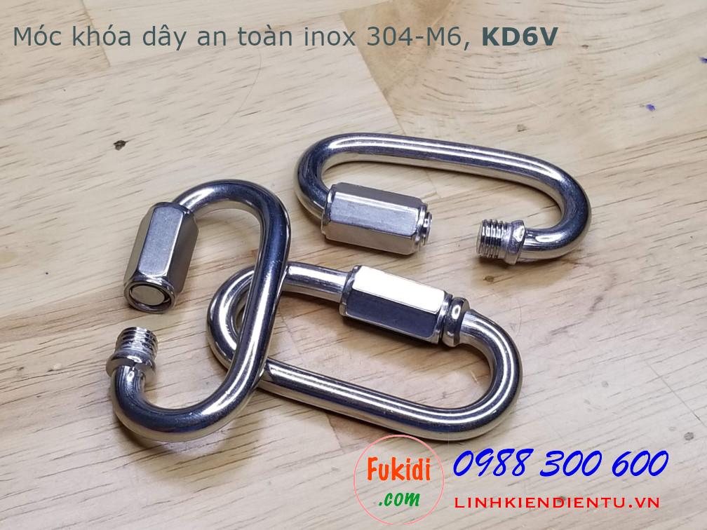 Móc khóa dây an toàn, khóa đai an toàn inox 304 M6 dài 56mm, có ren vặn, model KD6V