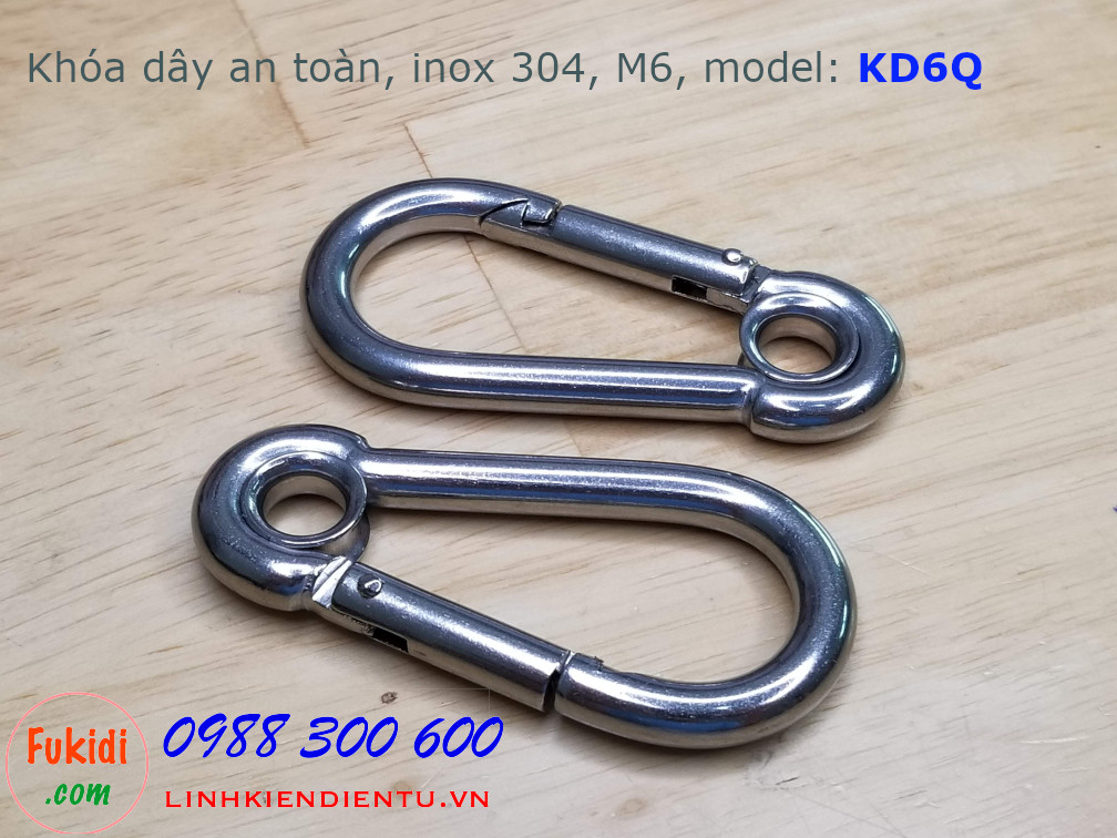Móc khóa dây xích, khóa dây an toàn M6, inox 304, model: KD6Q