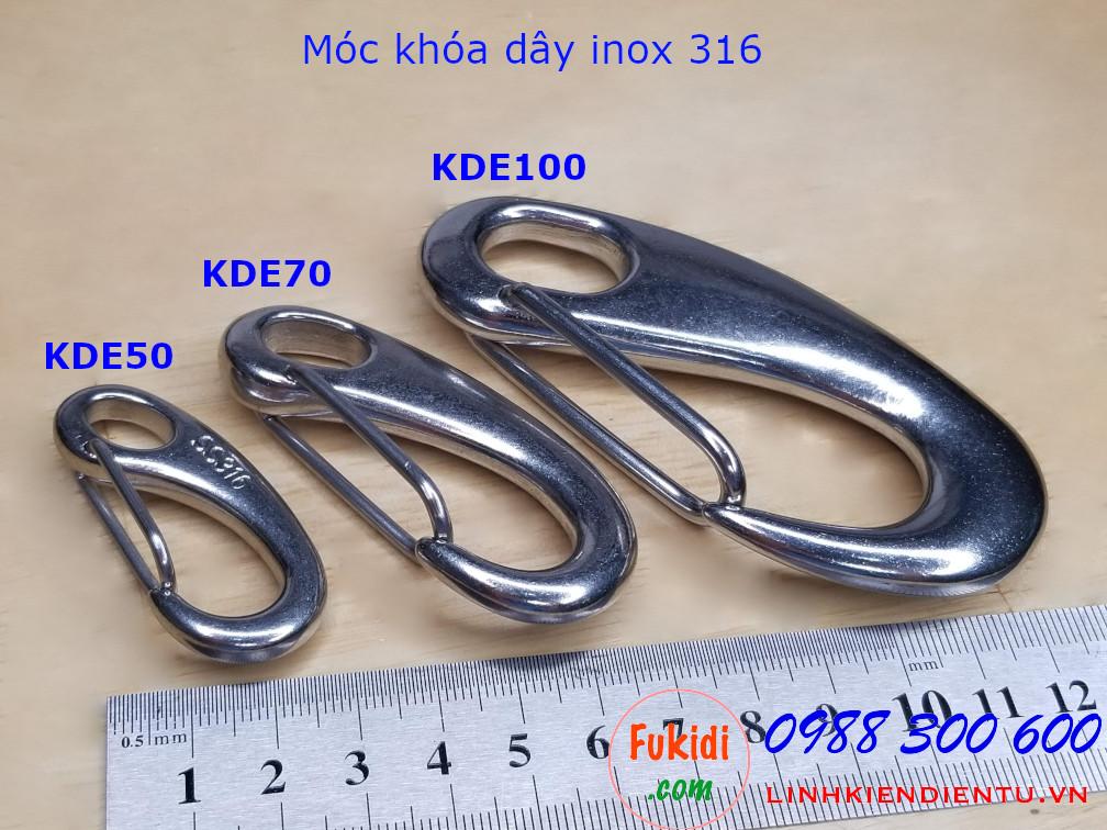 Móc khóa dây inox 316 hình ovan dài 70mm - KDE70
