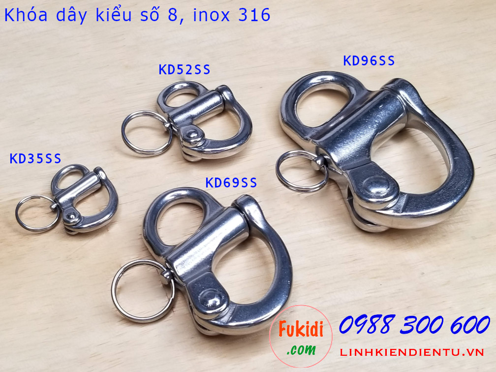 Móc khóa dây, móc nối dây xích inox 316 hình số 8 dài 35mm - KD35SS