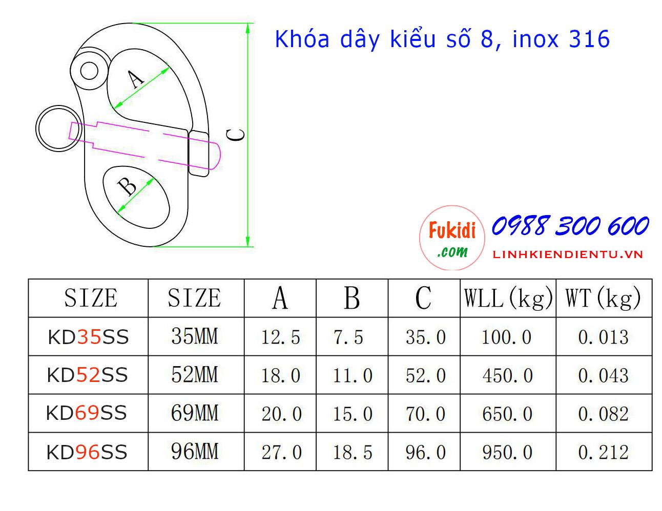 Móc khóa dây, móc nối dây xích inox 316 hình số 8 dài 69mm - KD69SS