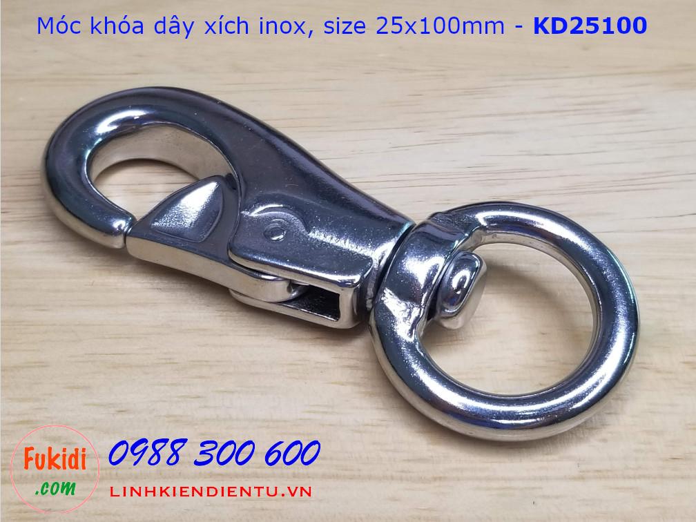 Móc khóa dây xích, dây an toàn inox 304 kích thước 25x100mm - KD25100