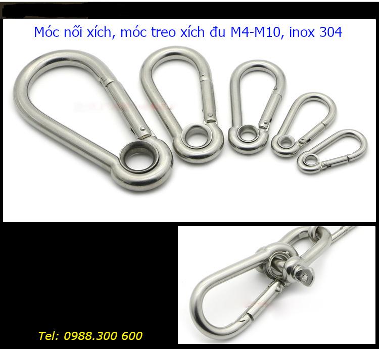Các loại móc nối xích inox 304 từ M4-M10 và một trong các cách nối thực tế sử dụng