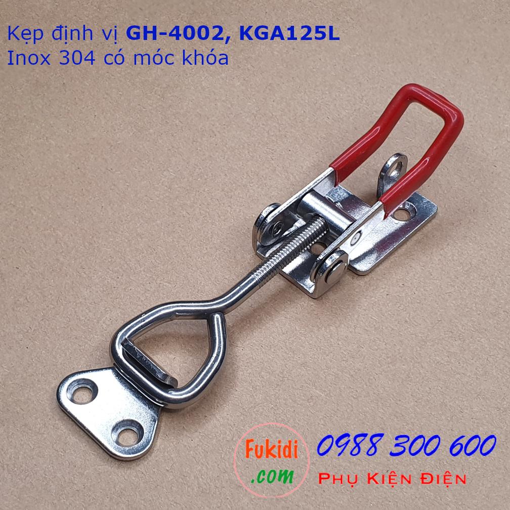 Khóa gài, cam kẹp GH-4002 chất liệu inox 304 dài 127mm có móc khóa - KGA125L