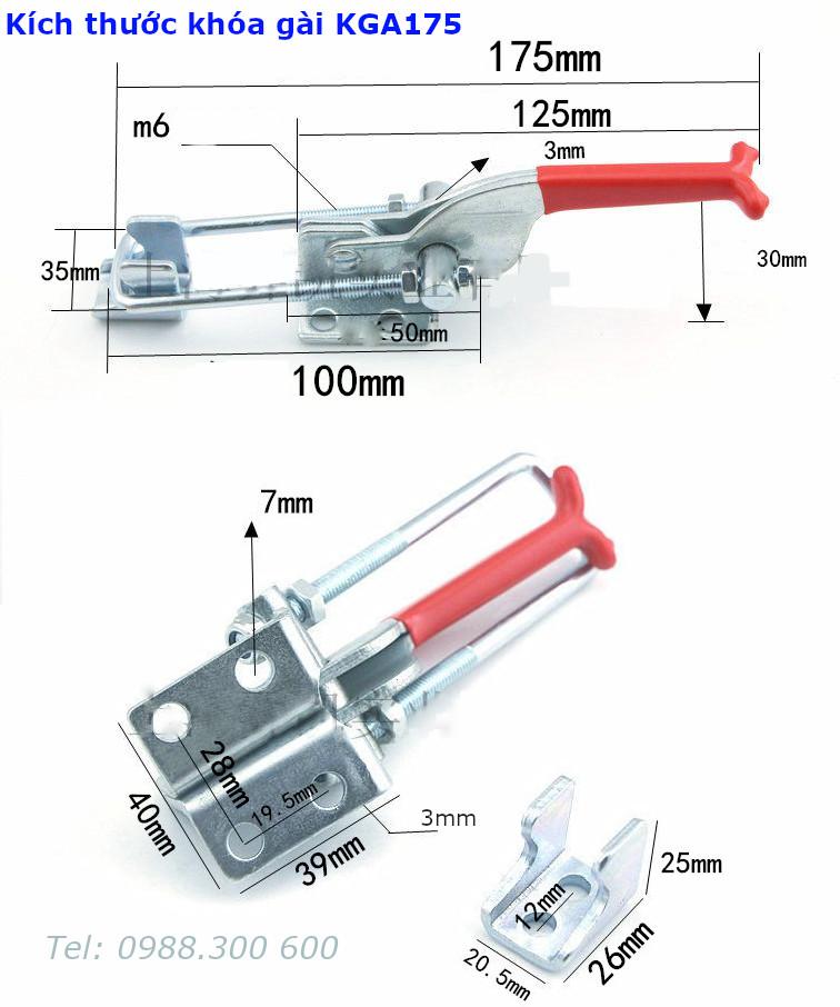 Chi tiết kích thước của khóa gài nhanh KGA175