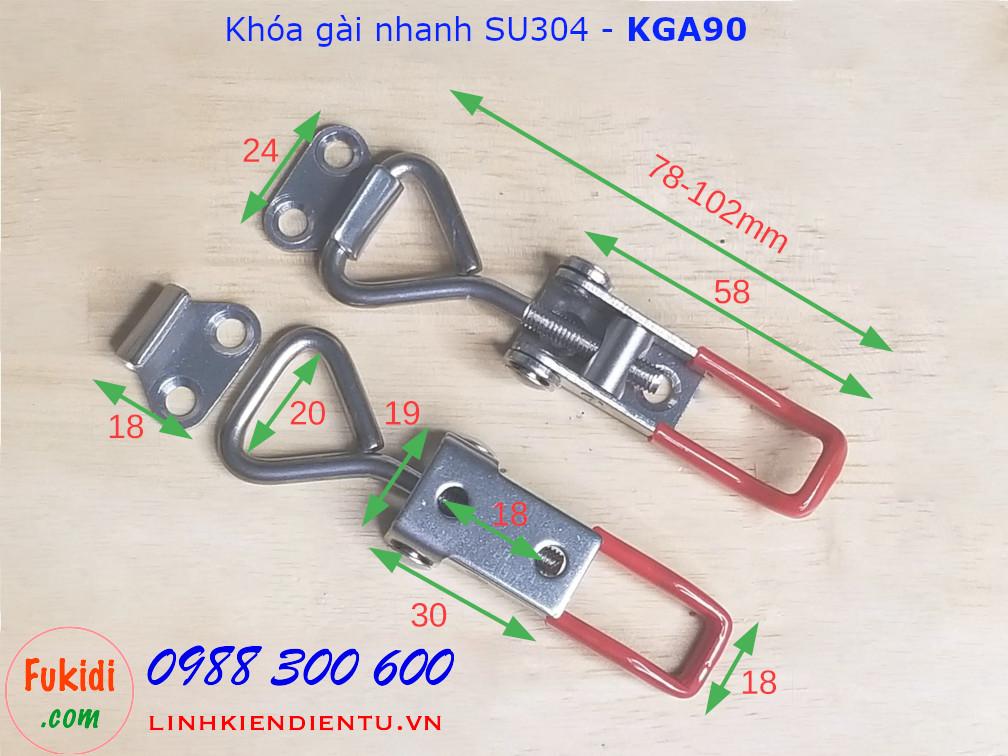 Khóa gài có thể điều chỉnh độ dài, chất liệu SU304 model KGA90