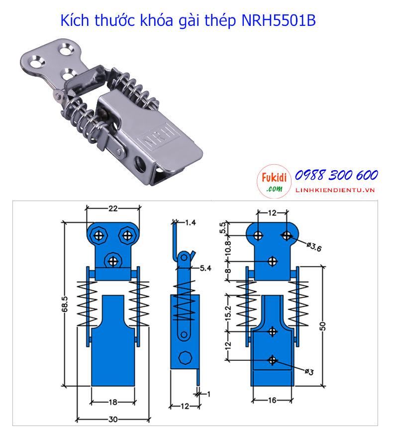 Chi tiết kích thước của khóa gài thép NRH5501B