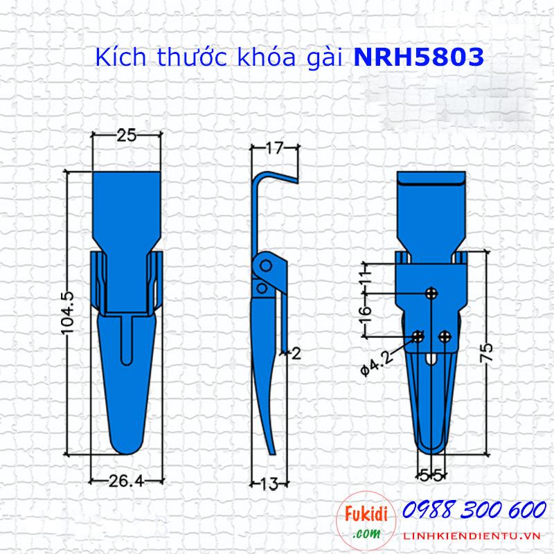 Chi tiết về kích thước của khóa hộp gỗ, khóa gài inox NRH5803